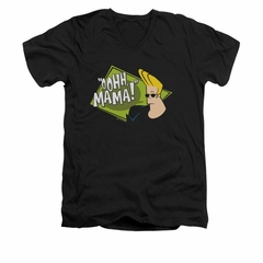 Johnny Bravo Shirt Slim Fit V Neck Oohh Mama Black Tee T-Shirt