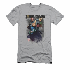 Judge Dredd Shirt Slim Fit Standing Over Silver T-Shirt