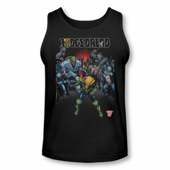 Judge Dredd Shirt Tank Top Behind Him Black Tanktop