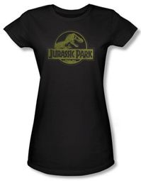 Jurassic Park Juniors T-shirt Movie Distressed Logo Black Tee Shirt