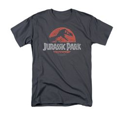 Jurassic Park Shirt Faded Logo Adult Charcoal Tee T-Shirt