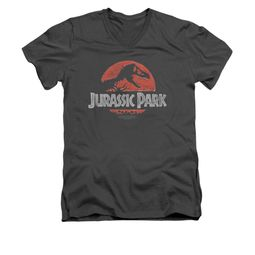 Jurassic Park Shirt Slim Fit V Neck Faded Logo Charcoal Tee T-Shirt