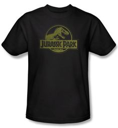 Jurassic Park T-shirt Movie Distressed Logo Adult Black Tee Shirt