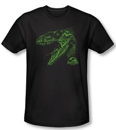 Jurassic Park T-shirt Movie Spino Mount Adult Black Slim Fit Shirt