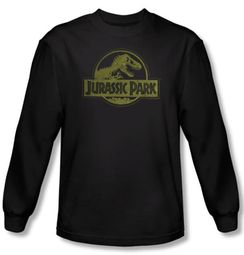 Jurassic Park T-shirt T Distressed Logo Adult Black Long Sleeve Tee