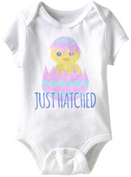 Just Hatched Funny Baby Romper White Infant Babies Creeper