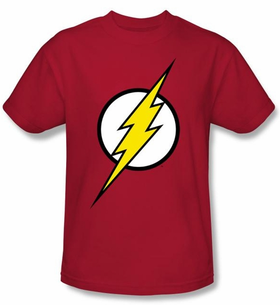10d178a13e8 Justice League Kids T-shirt Flash Logo Superheroes Youth Red Tee ...