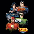 Justice League Ladies Superheroes T-shirt - Group Portrait Black Tee