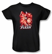 Justice League Ladies T-shirt The Flash Red and Gray Black Tee