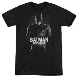 Justice League Movie Batman Profile Black Ringer Shirt