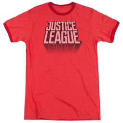 Justice League Movie Distressed Logo Red Ringer Shirt
