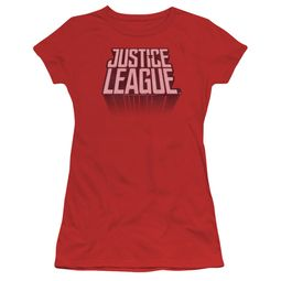 Justice League Movie Juniors Shirt Distressed Logo Red T-Shirt