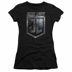 Justice League Movie Juniors Shirt Shield Logo Black T-Shirt