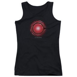 Justice League Movie Juniors Tank Top Cyborg Logo Black Tanktop