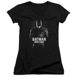 Justice League Movie Juniors V Neck Shirt Batman Profile Black T-Shirt