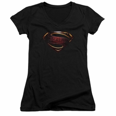 Justice League Movie Juniors V Neck Shirt Superman Logo Black T-Shirt