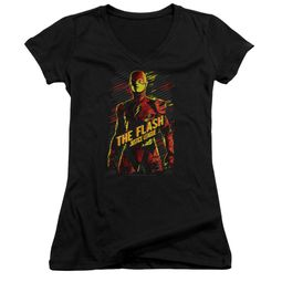 Justice League Movie Juniors V Neck Shirt The Flash Black T-Shirt