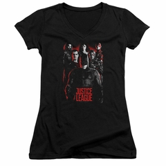 Justice League Movie Juniors V Neck The League Red Glow Black T-Shirt