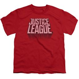 Justice League Movie Kids Shirt Distressed Logo Red T-Shirt