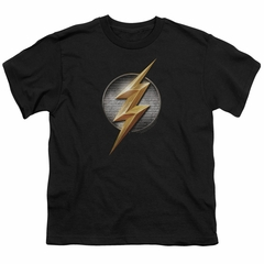 Justice League Movie Kids Shirt Flash Logo Black T-Shirt