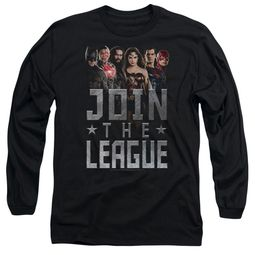 Justice League Movie Long Sleeve Join The League Black Tee T-Shirt