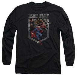 Justice League Movie Long Sleeve Shirt Charge Black Tee T-Shirt