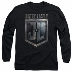 Justice League Movie Long Sleeve Shirt Shield Logo Black Tee T-Shirt