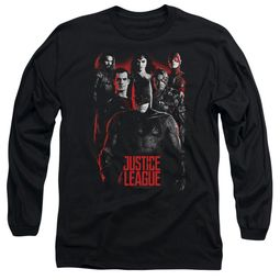 Justice League Movie Long Sleeve The League Red Glow Black Tee T-Shirt