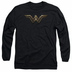 Justice League Movie Long Sleeve Wonder Woman Logo Black T-Shirt
