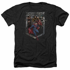 Justice League Movie Shirt Charge Heather Black T-Shirt