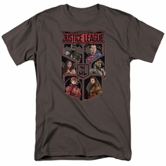 Justice League Movie Shirt League of Six Charcoal T-Shirt