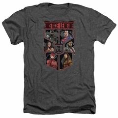 Justice League Movie Shirt League of Six Heather Charcoal T-Shirt