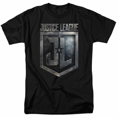 Justice League Movie Shirt Shield Logo Black T-Shirt