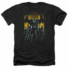 Justice League Movie Shirt Stand Up To Evil Heather Black T-Shirt