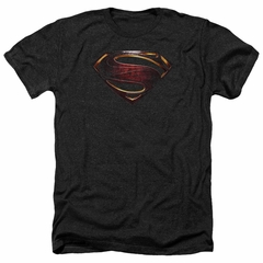Justice League Movie Shirt Superman Logo Heather Black T-Shirt