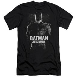 Justice League Movie Slim Fit V-Neck Batman Profile Black T-Shirt