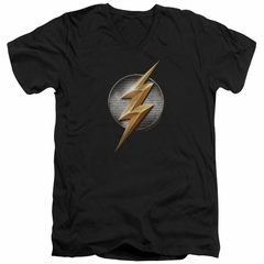 Justice League Movie Slim Fit V-Neck Flash Logo Black T-Shirt