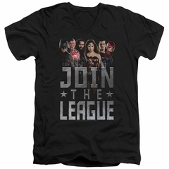 Justice League Movie Slim Fit V-Neck Join The League Black T-Shirt