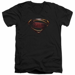 Justice League Movie Slim Fit V-Neck Shirt Superman Logo Black T-Shirt