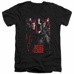 Justice League Movie Slim Fit V-Neck The League Red Glow Black T-Shirt
