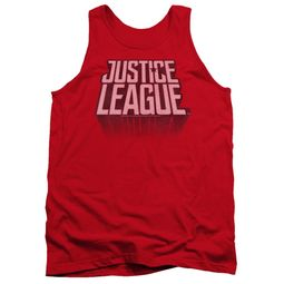 Justice League Movie Tank Top Distressed Logo Red Tanktop