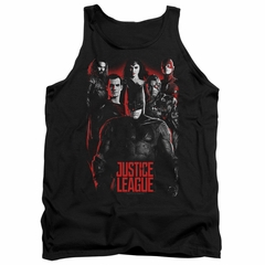 Justice League Movie Tank Top The League Red Glow Black Tanktop