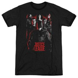 Justice League Movie The League Red Glow Black Ringer Shirt