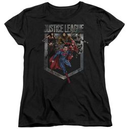 Justice League Movie Womens Shirt Charge Black T-Shirt