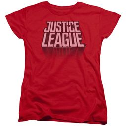 Justice League Movie Womens Shirt Distressed Logo Red T-Shirt