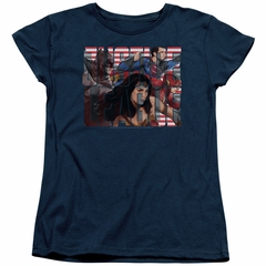 Justice League Movie Womens Shirt Rally Navy T-Shirt