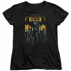 Justice League Movie Womens Shirt Stand Up To Evil Black T-Shirt