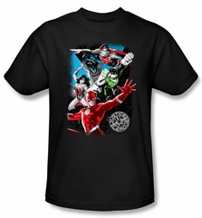 Justice League Superheroes T-shirt – Galactic Attack Adult Black Tee