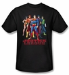 Justice League Superheroes T-shirt - In League Adult Black Tee