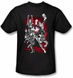 Justice League Superheroes T-shirt - JLA Explosion Adult Black Tee